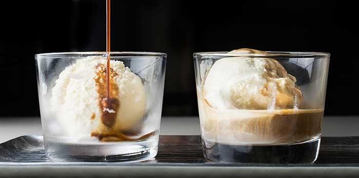 ریختن اسپرسو روی بستنی