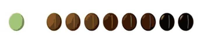 درجات مختلف رست دان قهوه