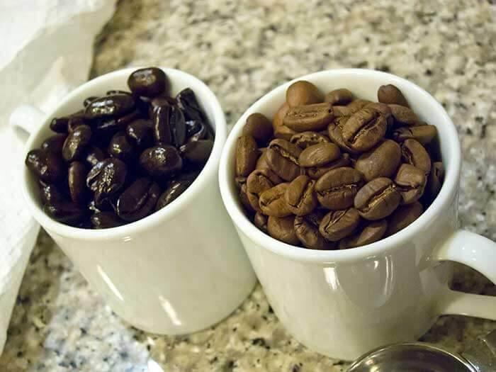 کافئین بیشتر برای کدام نوع رست است؟