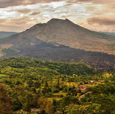 کوه های آتشفشانی بالی و مزارع آن