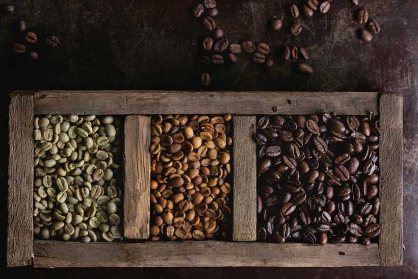 انواع رنگ دانه های رست شده قهوه